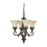 Feiss Drawing Room 4 Light Mini Chandelier in Walnut F2221/4WAL