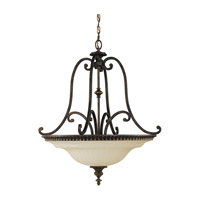 Drawing Room 4 Light 27 inch Walnut Uplight Chandelier Ceiling Light in Fluorescent