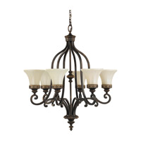 Drawing Room 6 Light 28 inch Walnut Chandelier Ceiling Light