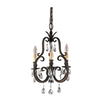 Salon Maison 3 Light 14 inch Aged Tortoise Shell Mini Chandelier Ceiling Light