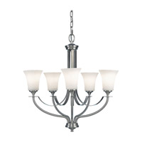 Barrington 5 Light 26 inch Brushed Steel Chandelier Ceiling Light