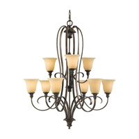 Feiss Somerset 9 Light Chandelier in British Bronze F2281/6+3BRB photo thumbnail