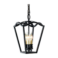 Kings Table 3 Light 10 inch Antique Forged Iron Hall Chandelier Ceiling Light