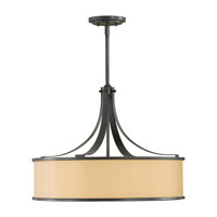 Casual Luxury 4 Light 23 inch Dark Bronze Shade Pendant Ceiling Light in Fluorescent, Bronze Organza