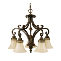 Feiss F2397/5WAL Drawing Room 5 Light 25 inch Walnut Chandelier Ceiling Light