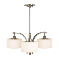 Sunset Drive 3 Light 27 inch Brushed Steel Chandelier Ceiling Light in Opal Etched Glass