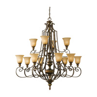 Feiss Kelham Hall 12 Light Chandelier in Firenze Gold and British Bronze F2418/8+4FG/BRB photo thumbnail