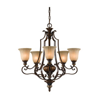 Feiss Kelham Hall 5 Light Chandelier in Firenze Gold and British Bronze F2503/5FG/BRB photo thumbnail