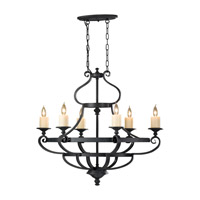 Feiss Kings Table 6 Light Chandelier in Antique Forged Iron F2517/6AF photo thumbnail