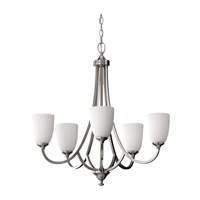 Feiss F2584/5BS Perry 5 Light 26 inch Brushed Steel Chandelier Ceiling Light