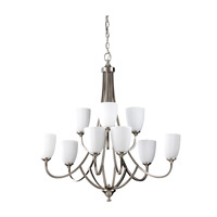 Feiss F2585/6+3BS Perry 9 Light 32 inch Brushed Steel Chandelier Ceiling Light