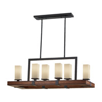 Madera 6 Light 38 inch Antique Forged Iron and Aged Walnut Linear Chandelier Ceiling Light