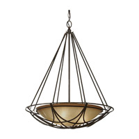 El Nido 3 Light 24 inch Mocha Bronze Pendant Ceiling Light in Standard