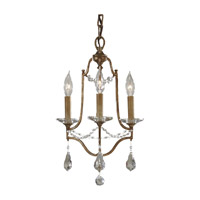 Valentina 3 Light 13 inch Oxidized Bronze Mini Chandelier Ceiling Light