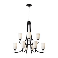 Feiss Peyton 9 Light Chandelier in Black F2625/6+3BK photo thumbnail