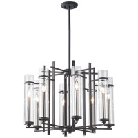 Feiss Ethan 8 Light Chandelier in Antique Forged Iron and Brushed Steel F2628/8AF/BS
