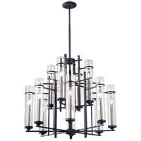 Ethan 12 Light 30 inch Antique Forged Iron and Aged Walnut Chandelier Ceiling Light