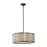 Feiss F2638/3LAB Joplin 3 Light 20 inch Light Antique Bronze Chandelier Ceiling Light Beige Silk