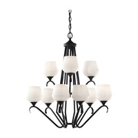 Feiss Merritt 9 Light Chandelier in Black F2656/6+3BK