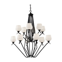 Feiss Merritt 12 Light Chandelier in Black F2657/6+6BK