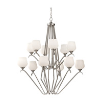 Feiss Merritt 12 Light Chandelier in Brushed Steel F2657/6+6BS photo thumbnail
