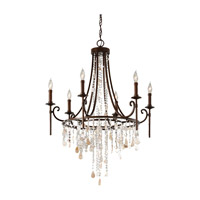 Cascade 6 Light 28 inch Heritage Bronze Chandelier Ceiling Light
