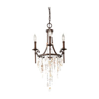 Cascade 3 Light 16 inch Heritage Bronze Mini Chandelier Ceiling Light