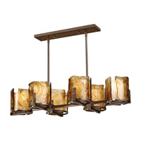 Aris 6 Light 38 inch Roman Bronze Linear Chandelier Ceiling Light