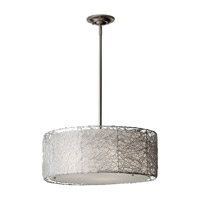 Wired 3 Light 20 inch Brushed Steel Chandelier Ceiling Light in Standard