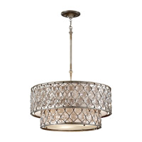 Feiss F2707/6BUS Lucia 6 Light 25 inch Burnished Silver Chandelier Ceiling Light