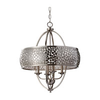 Zara 4 Light 24 inch Brushed Steel Chandelier Ceiling Light