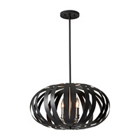 Woodstock 4 Light 22 inch Textured Black Chandelier Ceiling Light