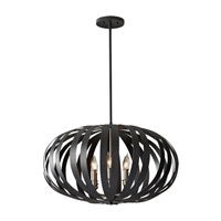 Feiss Woodstock 6 Light Chandelier in Textured Black F2739/6TXB