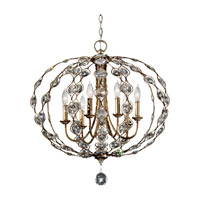 Feiss F2740/6BUS Leila 6 Light 28 inch Burnished Silver Chandelier Ceiling Light