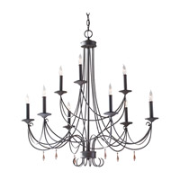 Feiss Aliya 9 Light Chandelier in Rustic Iron F2748/6+3RI photo thumbnail