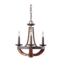 Adan 3 Light 18 inch Rustic Iron and Burnished Wood Mini Chandelier Ceiling Light