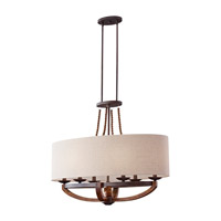 Feiss Adan 6 Light Linear Chandelier in Rustic Iron and Burnished Wood F2751/6RI/BWD