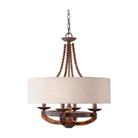 Adan 4 Light 22 inch Rustic Iron and Burnished Wood Chandelier Ceiling Light