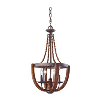 Adan 4 Light 16 inch Rustic Iron and Burnished Wood Mini Chandelier Ceiling Light