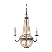 Charlotte 3 Light 19 inch Peruvian Bronze Mini Chandelier Ceiling Light