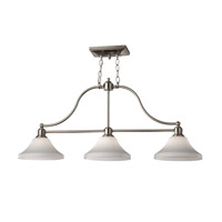 Feiss Cumberland 3 Light Linear Chandelier in Brushed Steel F2779/3BS