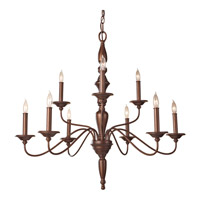 Feiss Yorktown Heights 9 Light Chandelier in Prescott Bronze F2790/6+3PRBZ