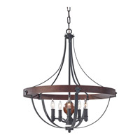 Alston 5 Light 24 inch Antique Forged Iron, Charcoal Brick, Acorn Chandelier Ceiling Light