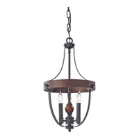 Alston 3 Light 12 inch Antique Forged Iron, Charcoal Brick, Acorn Mini Chandelier Ceiling Light