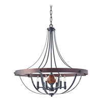 Alston 6 Light 31 inch Antique Forged Iron, Charcoal Brick, Acorn Chandelier Ceiling Light