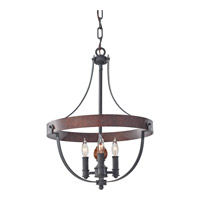Alston 3 Light 16 inch Antique Forged Iron, Charcoal Brick, Acorn Mini Chandelier Ceiling Light