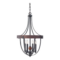 Alston 4 Light 16 inch Antique Forged Iron, Charcoal Brick, Acorn Chandelier Ceiling Light