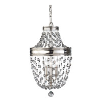 Feiss F2812/3PN Malia 3 Light 12 inch Polished Nickel Mini Chandelier Ceiling Light