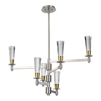 Feiss Celebration 6 Light Chandelier in Brushed Nickel and Natural Brass F2814/6BN/NB
