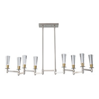 Feiss Celebration 8 Light Billiard Light in Brushed Nickel and Natural Brass F2815/8BN/NB